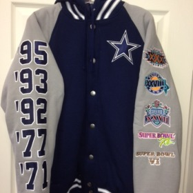 wholesale dealer 6bba6 f18ac Dallas Cowboys Jacket with Super Bowl Patches Front  150.00